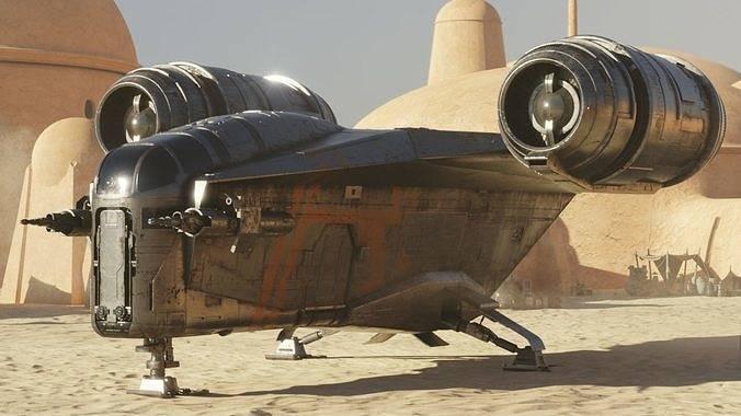 3D模型:星战《曼达洛人》剃刀冠号 Razor Crest 经典的飞船3D精品模型 (含Obj/Fbx/Abc格式/高清贴图) 免费下载