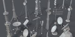 3D模型:40个雷达高塔天线无线通讯设备模型包 Antennas Part 1&2 – 40 Pieces (MAX/FBX/OBJ格式) 免费下载